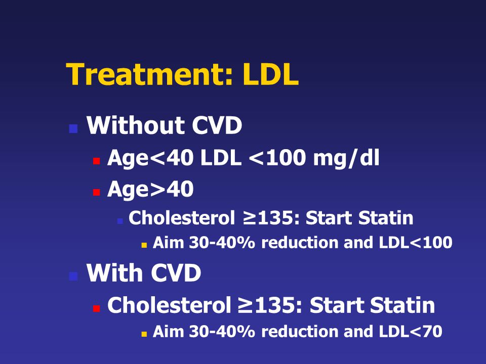 Treatment: LDL Without CVD With CVD Age<40 LDL <100 mg/dl
