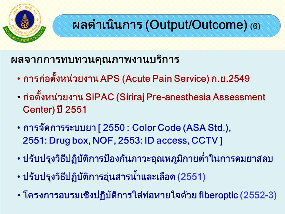 ผลดำเนินการ (Output/Outcome) (6)