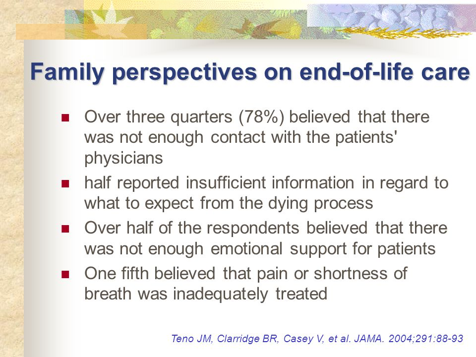 Family perspectives on end-of-life care