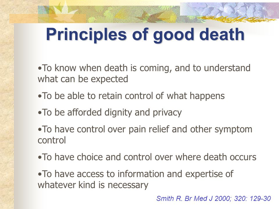Principles of good death