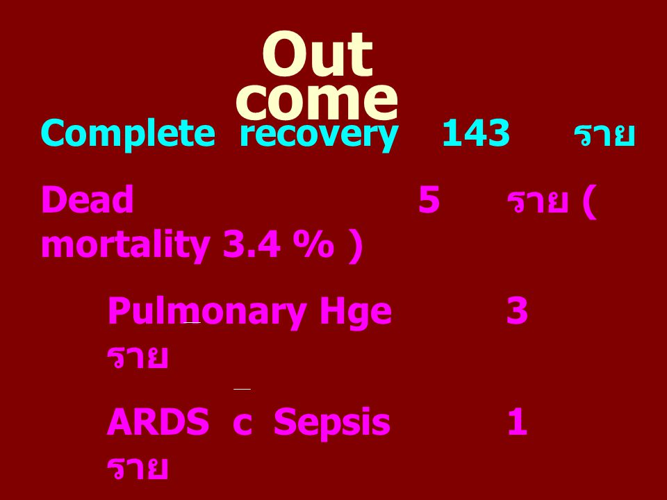 Out come Complete recovery 143 ราย Dead 5 ราย ( mortality 3.4 % )