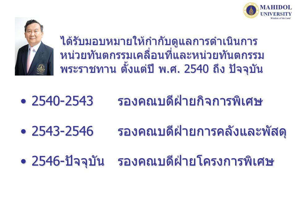 2540-2543 รองคณบดีฝ่ายกิจการพิเศษ
