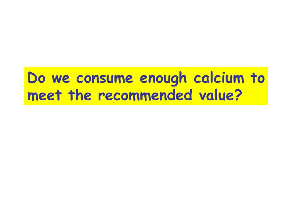 Do we consume enough calcium to