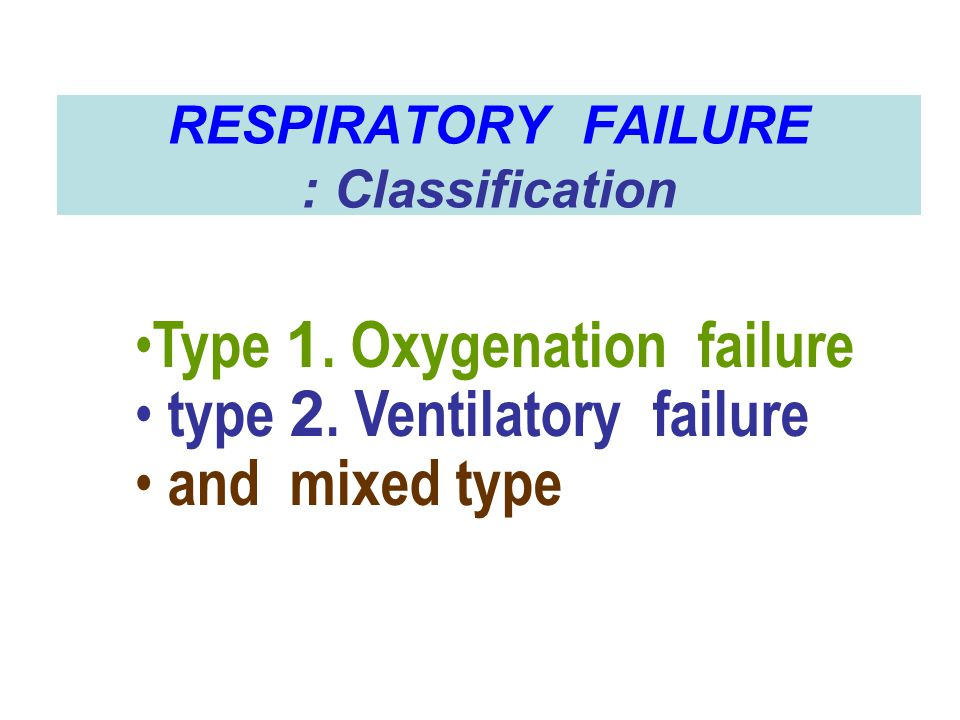 RESPIRATORY FAILURE : Classification