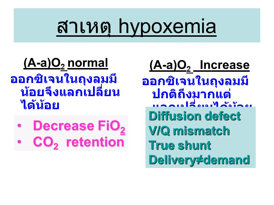 สาเหตุ hypoxemia Decrease FiO2 CO2 retention (A-a)O2 normal