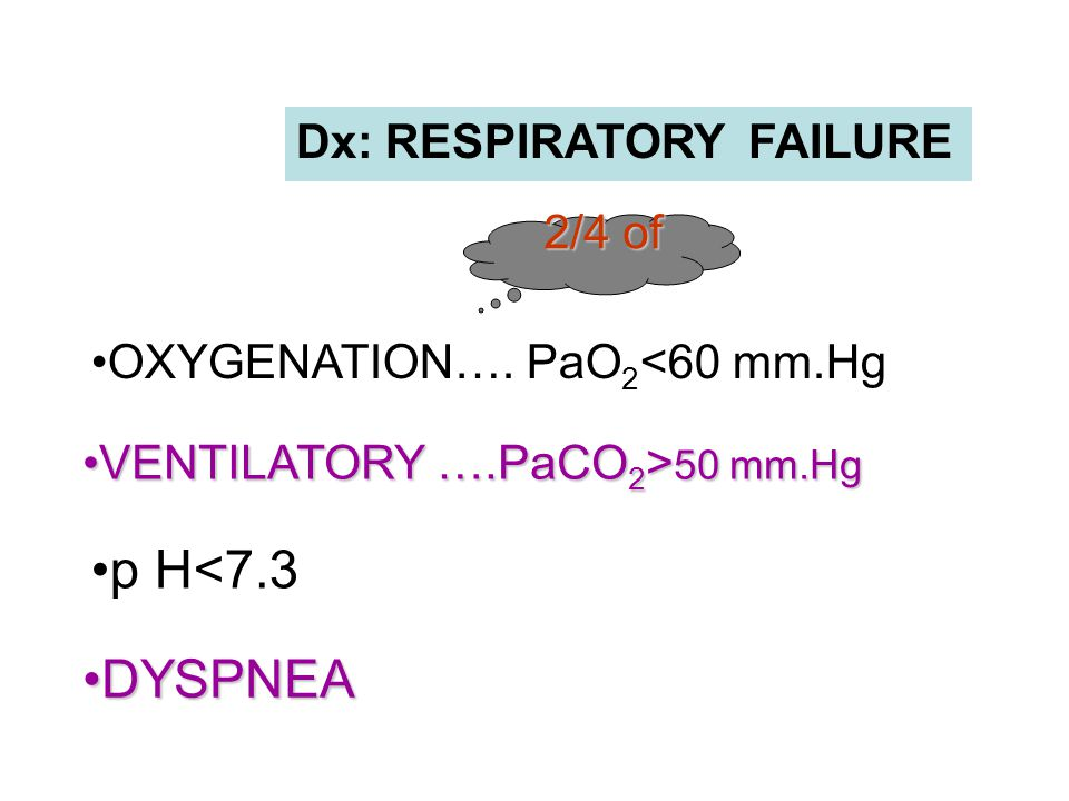 p H<7.3 DYSPNEA Dx: RESPIRATORY FAILURE 2/4 of