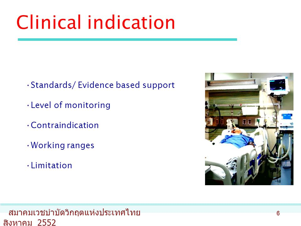 Clinical indication Standards/ Evidence based support