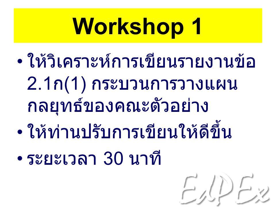 Workshop 1 ให้วิเคราะห์การเขียนรายงานข้อ 2.1ก(1) กระบวนการวางแผนกลยุทธ์ของคณะตัวอย่าง. ให้ท่านปรับการเขียนให้ดีขึ้น.