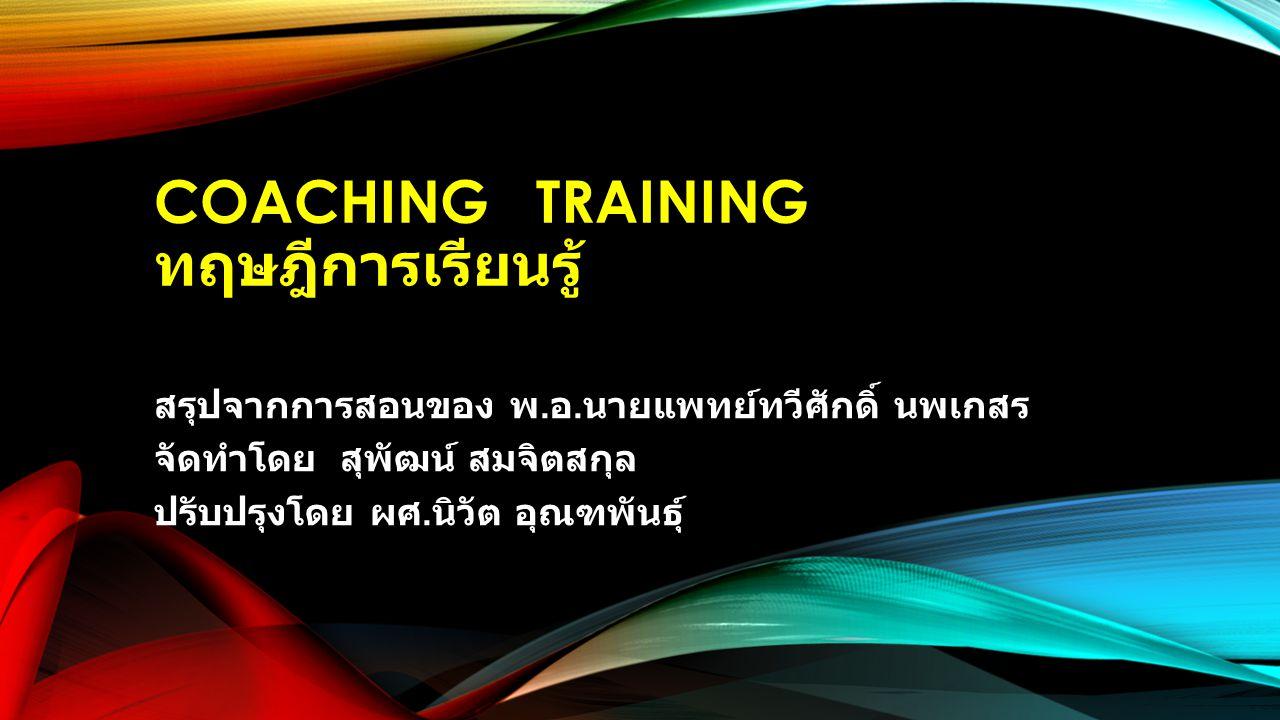 Coaching TRAINING ทฤษฎีการเรียนรู้