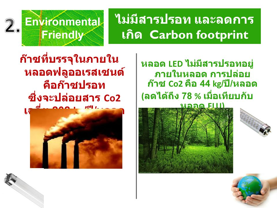 No mercury and reduce Carbon footprint