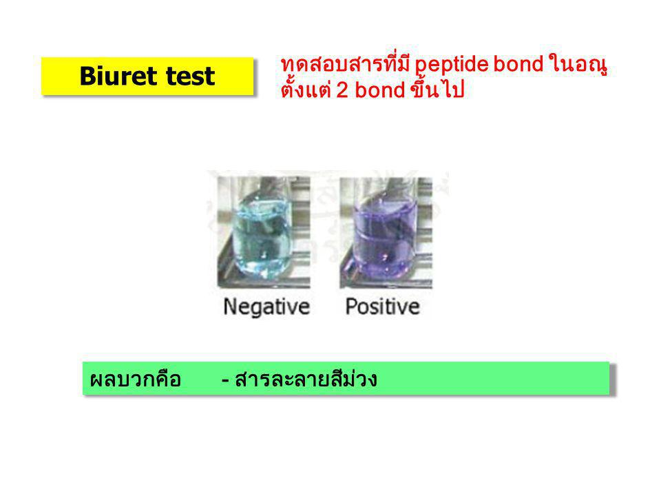 Biuret test ทดสอบสารที่มี peptide bond ในอณูตั้งแต่ 2 bond ขึ้นไป