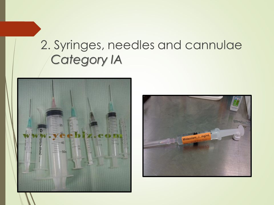 2. Syringes, needles and cannulae Category IA