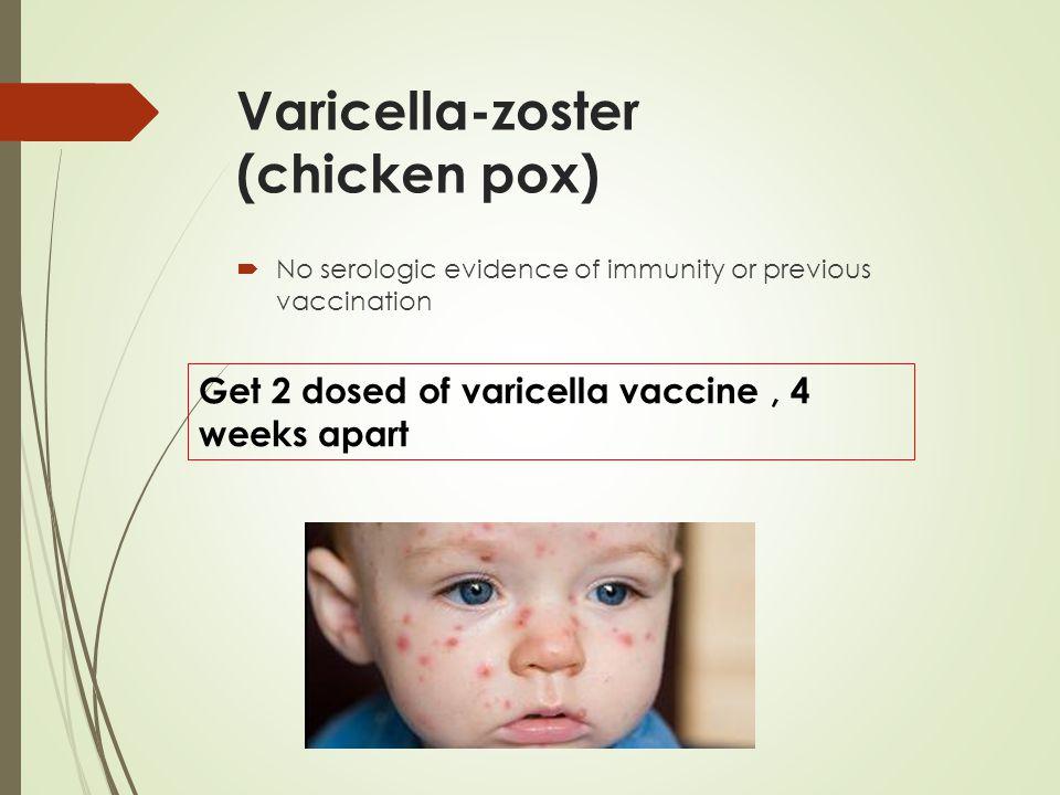 Varicella-zoster (chicken pox)