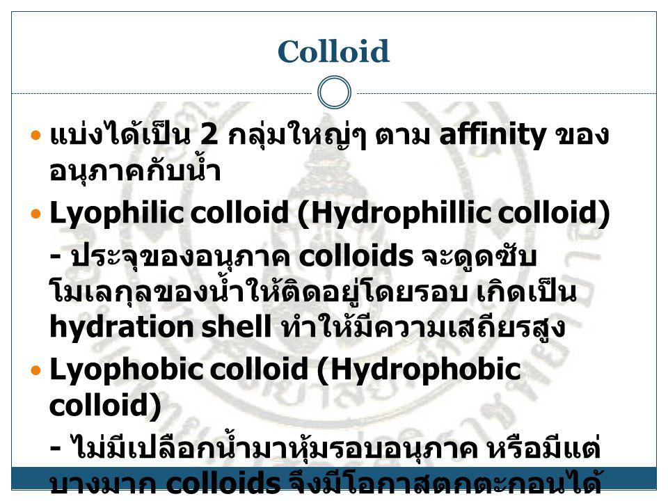 Colloid แบ่งได้เป็น 2 กลุ่มใหญ่ๆ ตาม affinity ของอนุภาคกับน้ำ