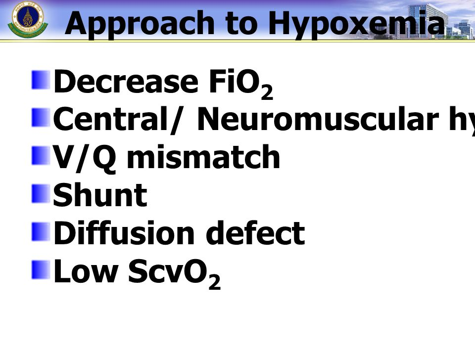 Approach to Hypoxemia Decrease FiO2. Central/ Neuromuscular hypoventilation. V/Q mismatch. Shunt.