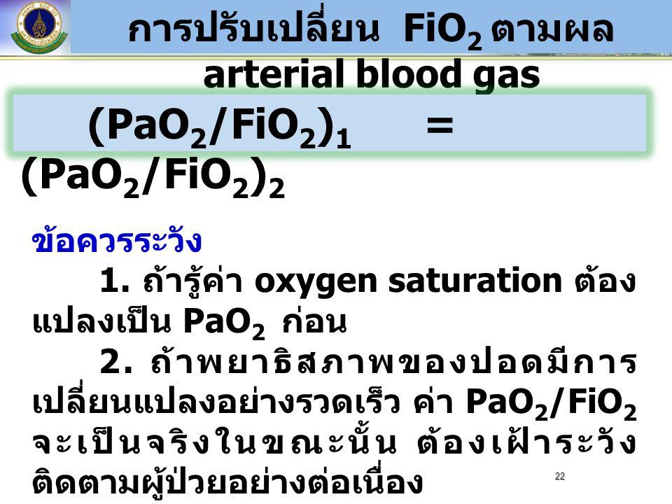 การปรับเปลี่ยน FiO2 ตามผล arterial blood gas