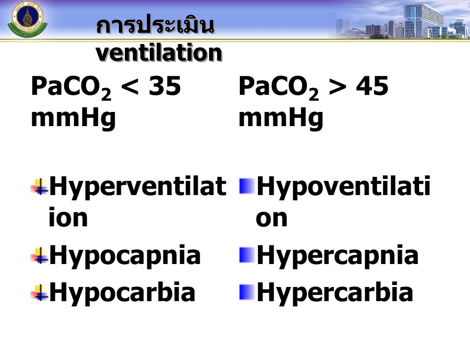 PaCO2 < 35 mmHg Hyperventilation Hypocapnia Hypocarbia