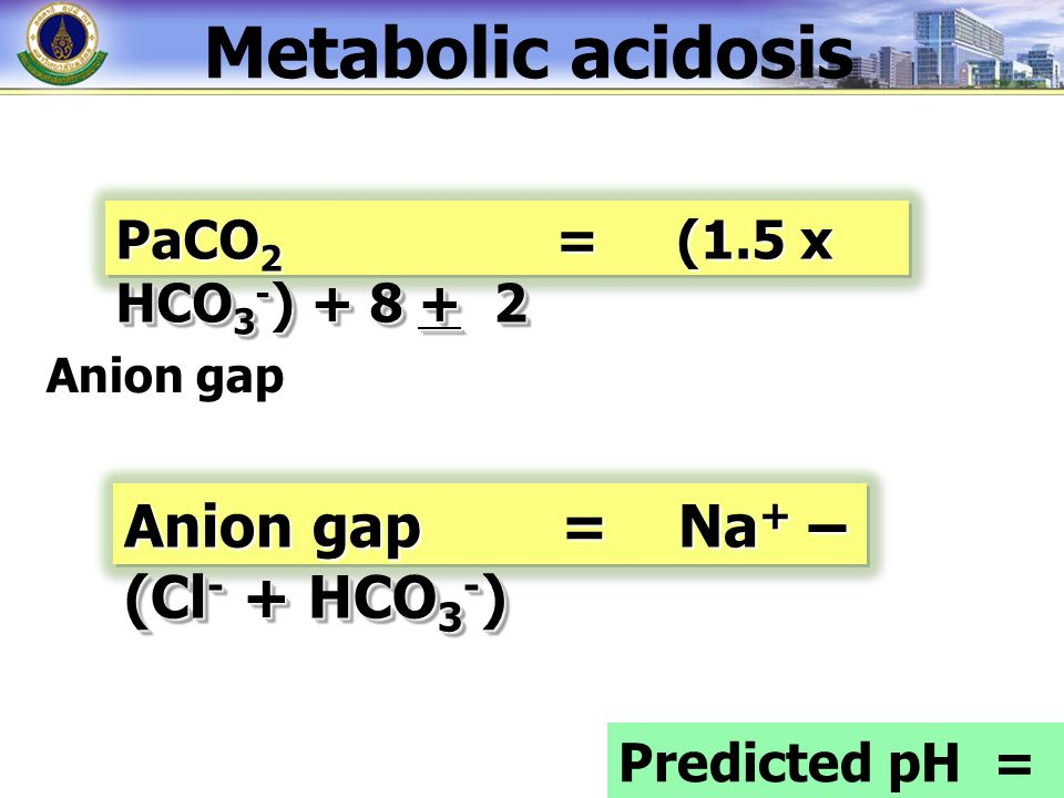 Metabolic acidosis Anion gap = Na+ – (Cl- + HCO3-)