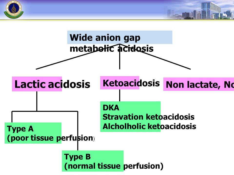Lactic acidosis Wide anion gap metabolic acidosis Ketoacidosis