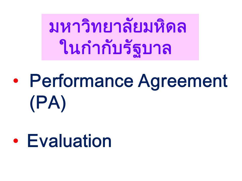 มหาวิทยาลัยมหิดล ในกำกับรัฐบาล Performance Agreement (PA) Evaluation