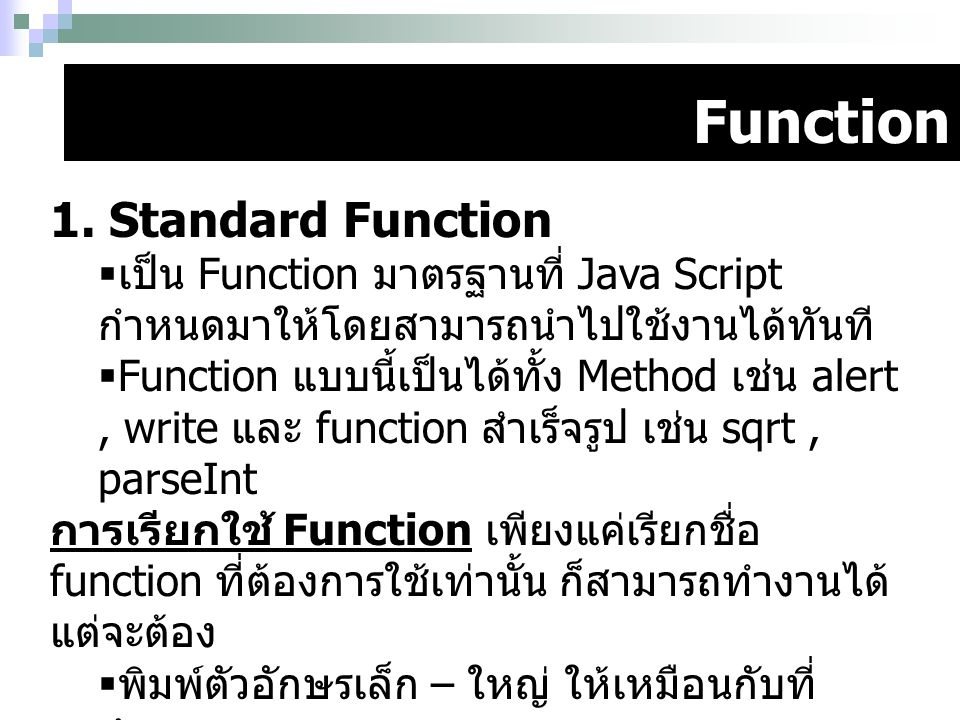 Function 1. Standard Function