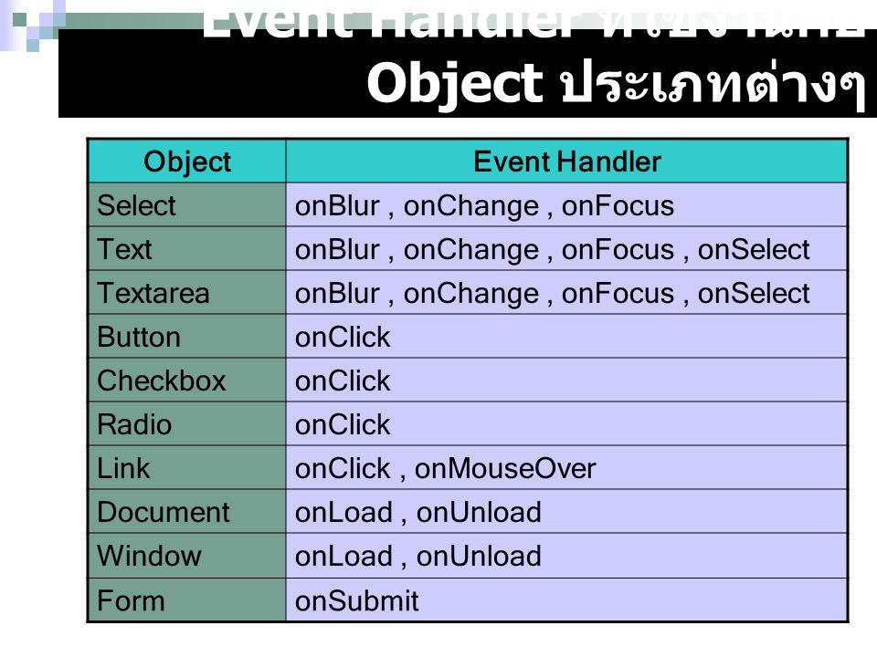 Event Handler ที่ใช้งานกับ Object ประเภทต่างๆ