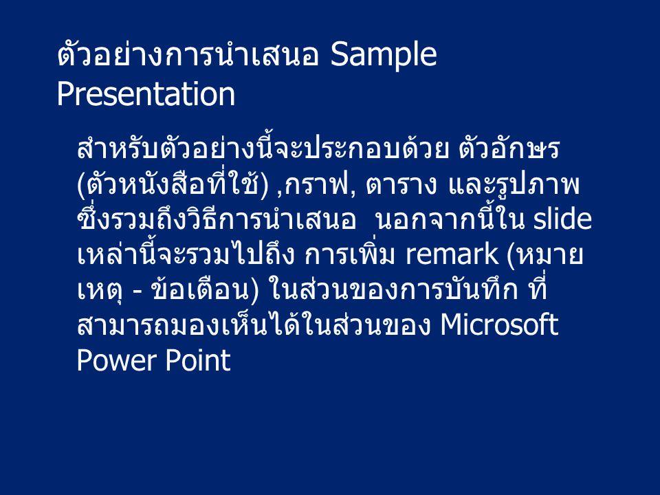 ตัวอย่างการนำเสนอ Sample Presentation