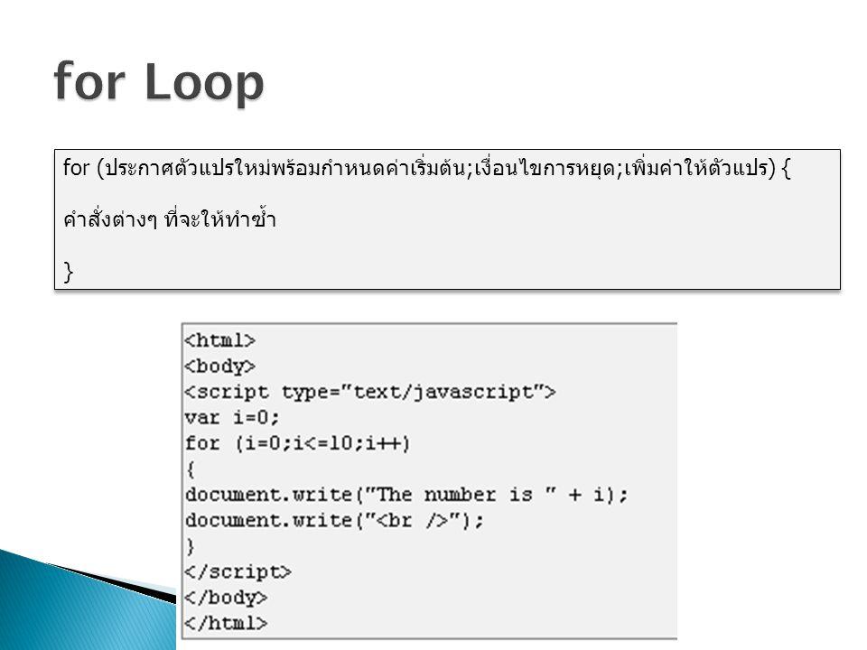 for Loop for (ประกาศตัวแปรใหม่พร้อมกำหนดค่าเริ่มต้น;เงื่อนไขการหยุด;เพิ่มค่าให้ตัวแปร) { คำสั่งต่างๆ ที่จะให้ทำซ้ำ.