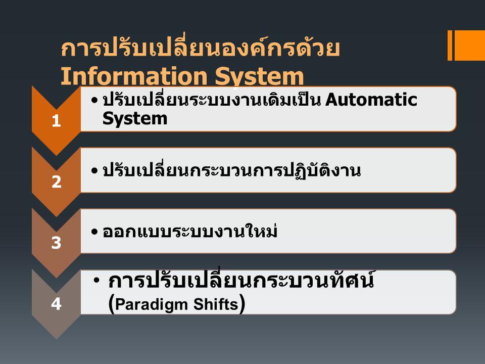 การปรับเปลี่ยนองค์กรด้วย Information System