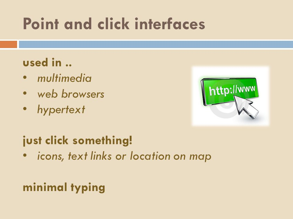 Point and click interfaces