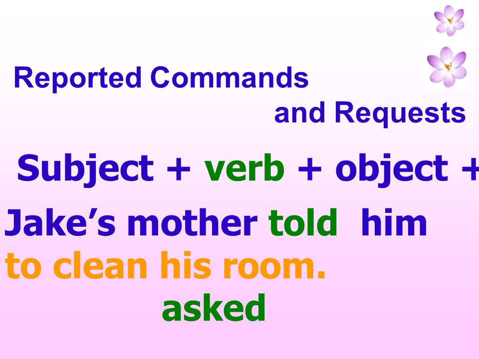 Subject + verb + object + infinitive with to
