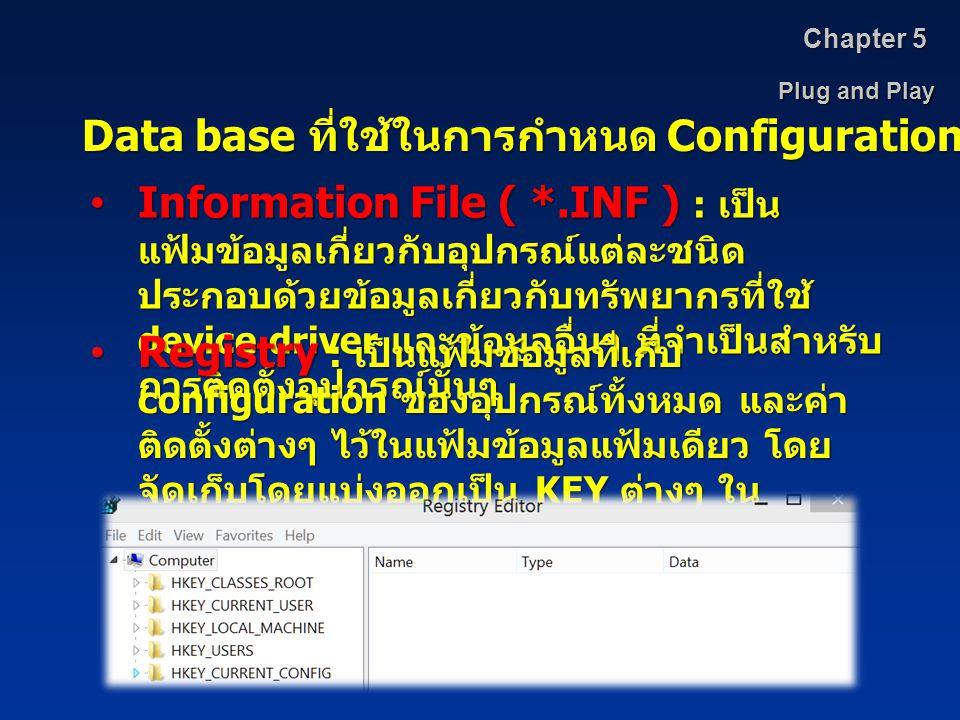 Data base ที่ใช้ในการกำหนด Configuration
