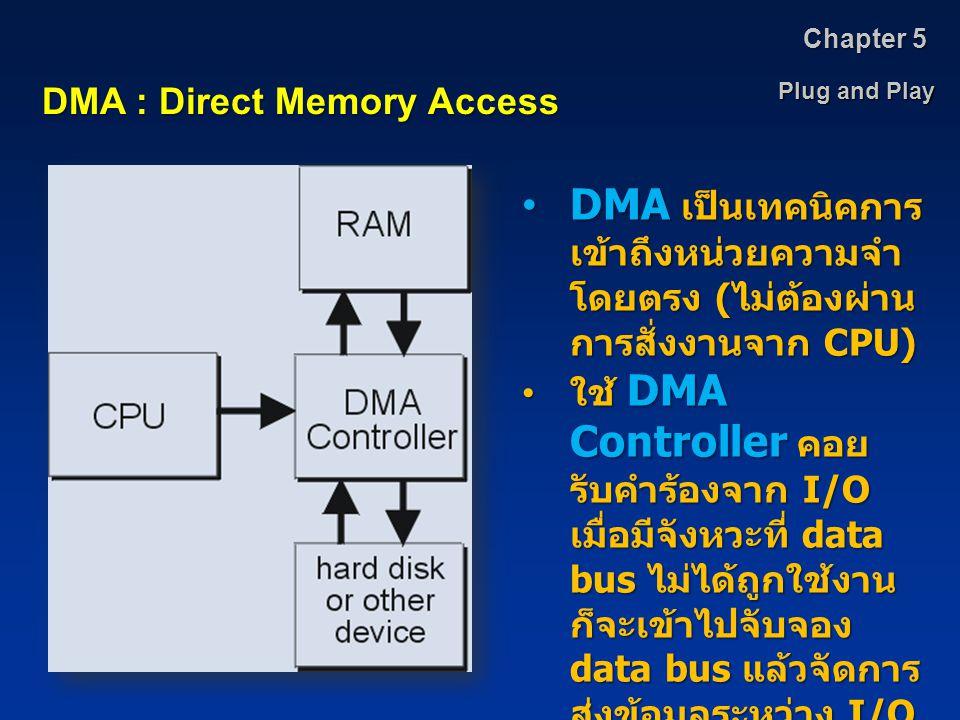 Chapter 5 Plug and Play. DMA : Direct Memory Access. DMA เป็นเทคนิคการเข้าถึงหน่วยความจำโดยตรง (ไม่ต้องผ่านการสั่งงานจาก CPU)