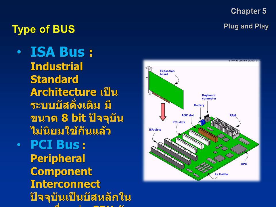Chapter 5 Plug and Play. Type of BUS. ISA Bus : Industrial Standard Architecture เป็นระบบบัสดั่งเดิม มีขนาด 8 bit ปัจจุบันไม่นิยมใช้กันแล้ว.