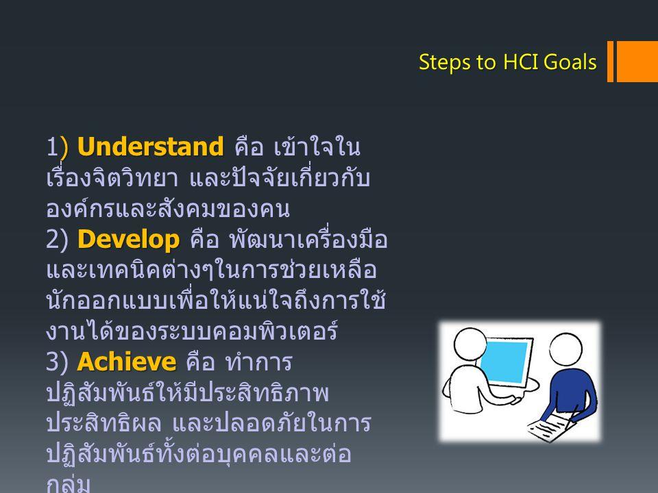 Steps to HCI Goals 1) Understand คือ เข้าใจในเรื่องจิตวิทยา และปัจจัยเกี่ยวกับองค์กรและสังคมของคน.