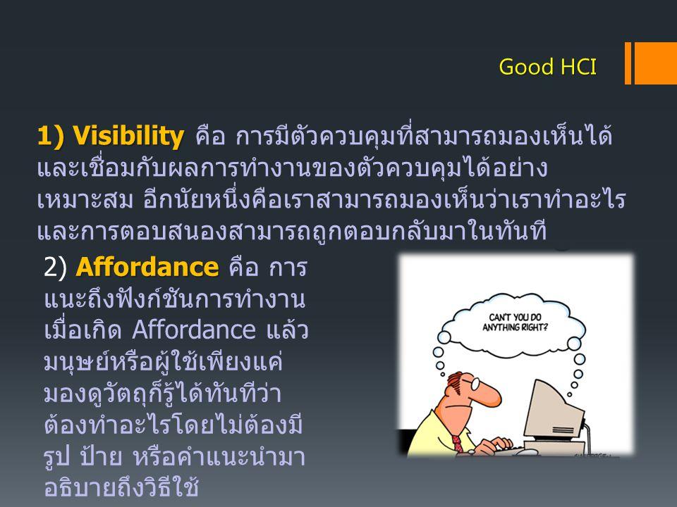2) Affordance คือ การแนะถึงฟังก์ชันการทำงาน
