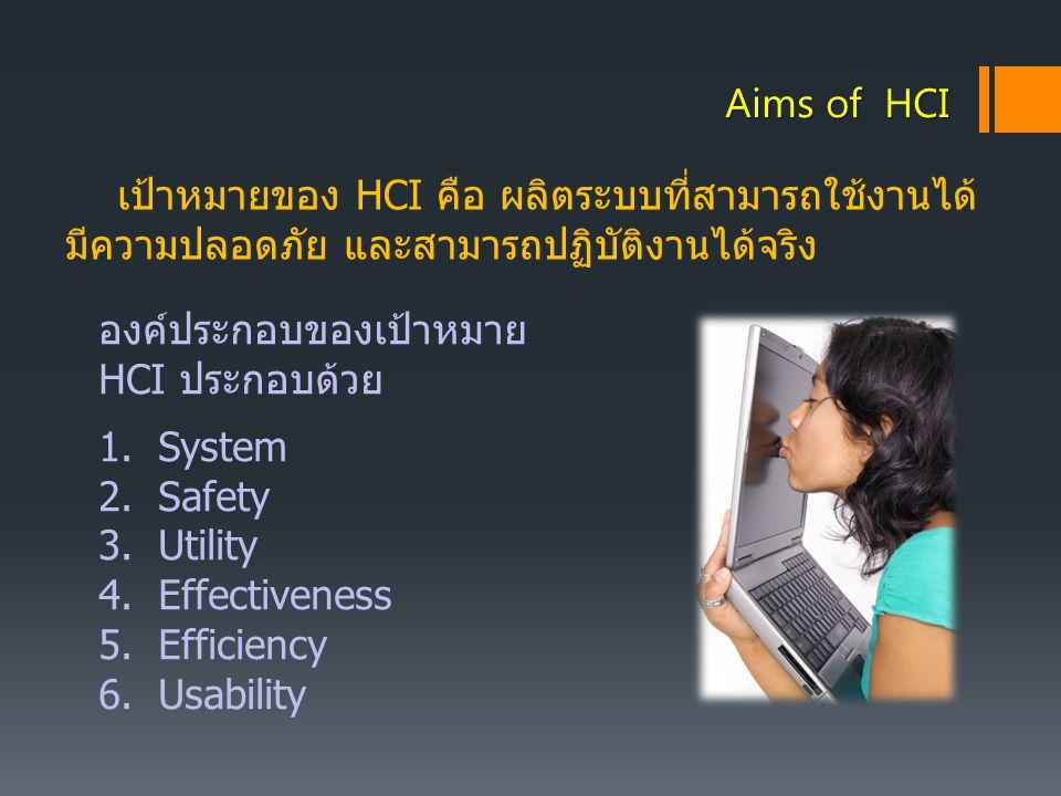Aims of HCI เป้าหมายของ HCI คือ ผลิตระบบที่สามารถใช้งานได้ มีความปลอดภัย และสามารถปฏิบัติงานได้จริง.
