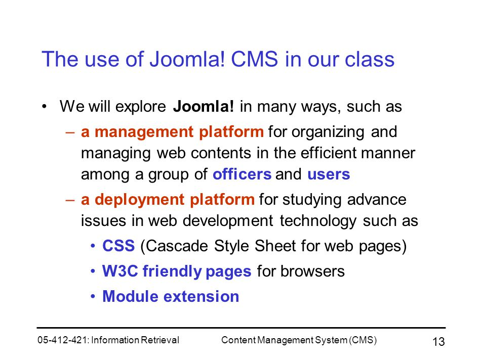 The use of Joomla! CMS in our class