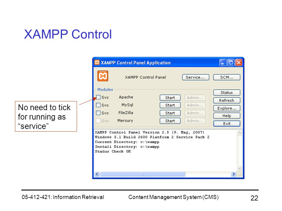 XAMPP Control No need to tick for running as service