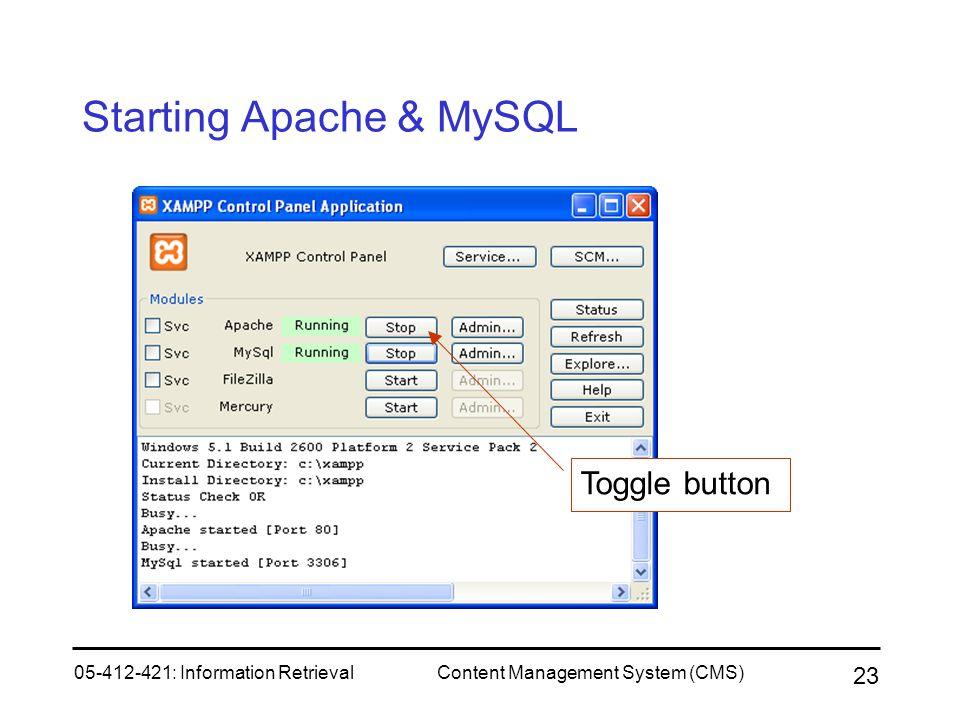 Starting Apache & MySQL