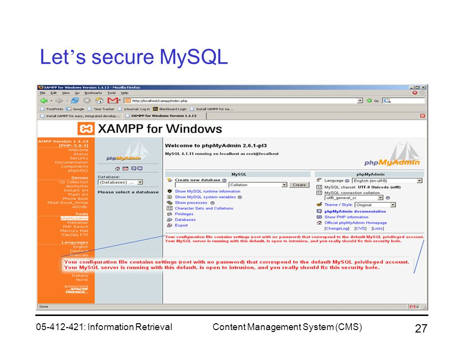 Let's secure MySQL 05-412-421: Information Retrieval