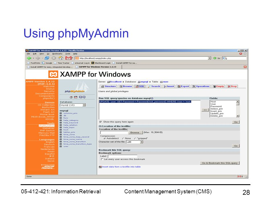 Using phpMyAdmin 05-412-421: Information Retrieval
