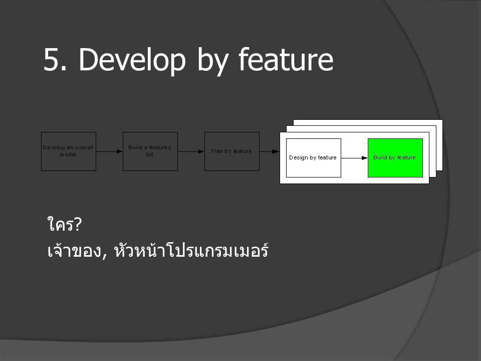 5. Develop by feature ใคร เจ้าของ, หัวหน้าโปรแกรมเมอร์