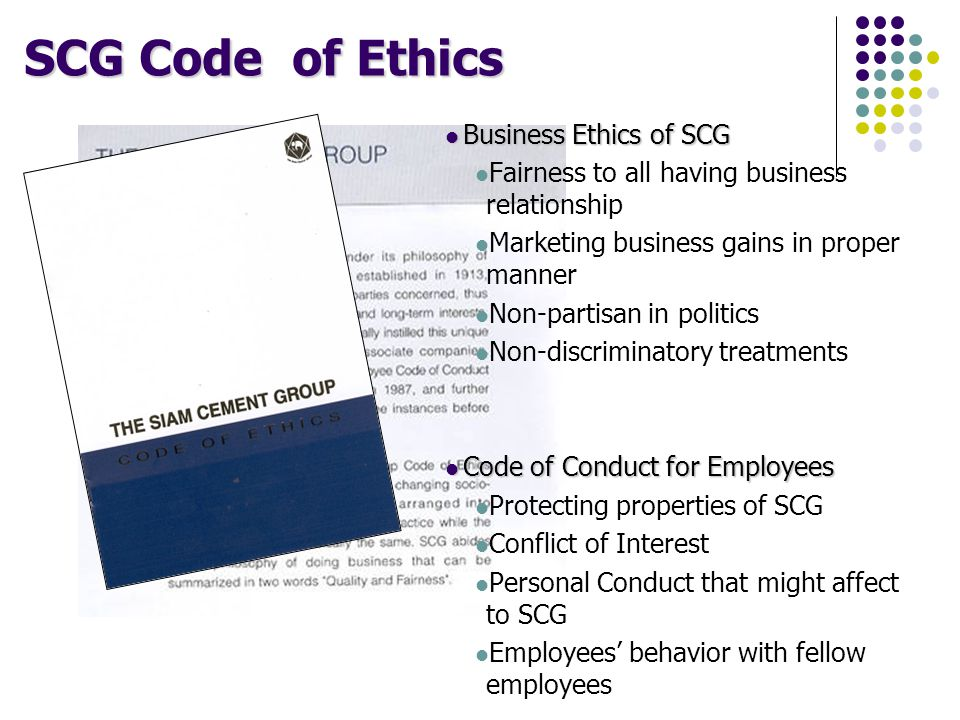 SCG Code of Ethics Business Ethics of SCG
