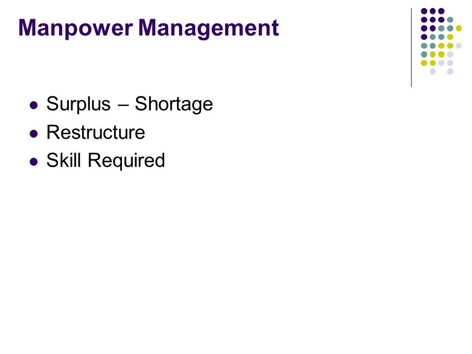 Manpower Management Surplus – Shortage Restructure Skill Required