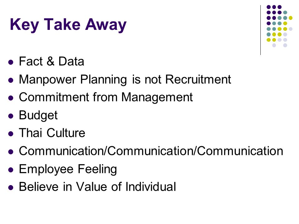 Key Take Away Fact & Data Manpower Planning is not Recruitment