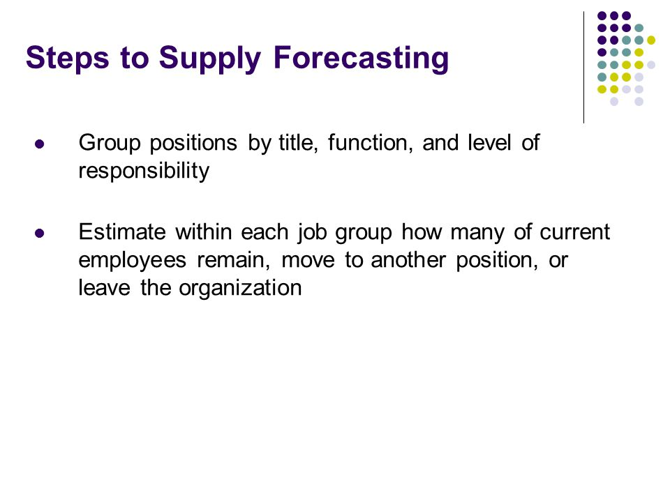 Steps to Supply Forecasting