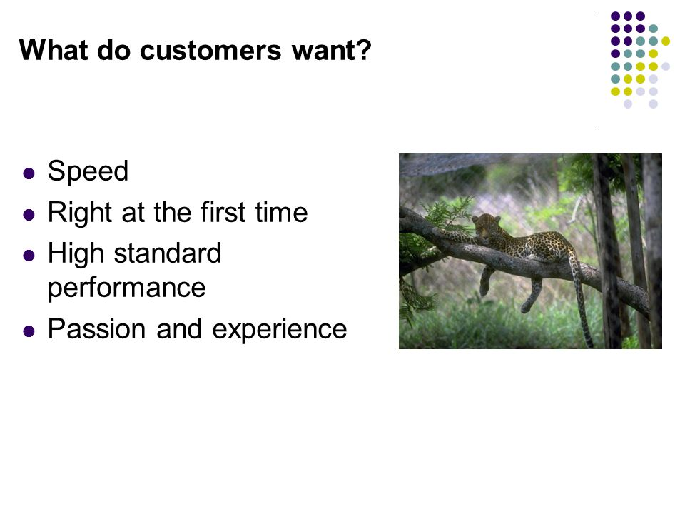 What do customers want. Speed. Right at the first time.