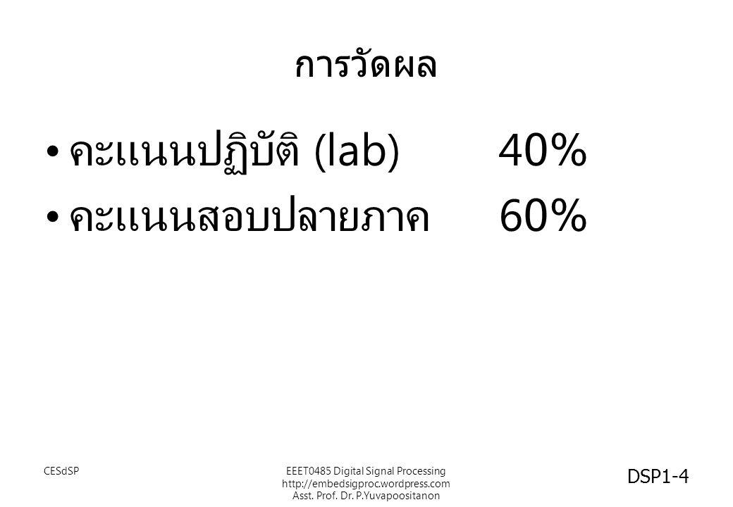 คะแนนปฏิบัติ (lab) 40% คะแนนสอบปลายภาค 60% การวัดผล CESdSP