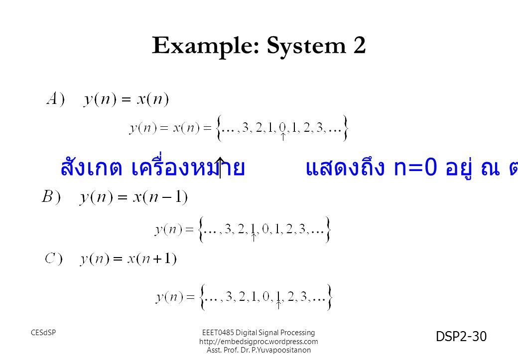 Example: System 2 สังเกต เครื่องหมาย แสดงถึง n=0 อยู่ ณ ตำแหน่งนั้น